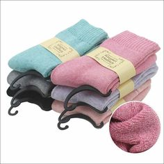 Thermal Cashmere, Angora & Cotton Socks for Girls/Women. Six Pairs. Free Shipping.