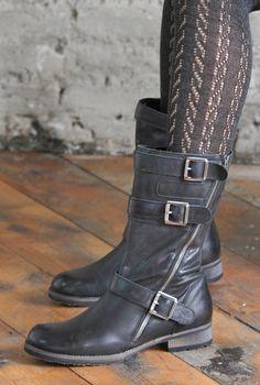 Ladies Biker Boots | Brora  Love the tights too!