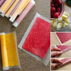 Making an All Fruit Roll-up yourself takes very little prep time, because all you need to do is puree fruit in a food processor or blender, but they take hours in the oven at a low temp to dehydrate into fruit leather . Candy Recipes, Baby Food Recipes, Snack Recipes, Fruit Snacks, Healthy Snacks, Healthy Recipes, Paleo Fruit, Healthy Candy, Kid Snacks