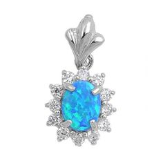 OVAL BLUE OPAL 925 STERLING SILVER PENDANT INLAY ROUND CZ FRAME