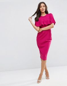ASOS Wiggle Dress with Frill Sleeve Detail