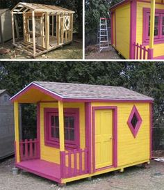 Wood pallet playhouse!  Seriously?!  So fun and cheap!  I'd love to make a little potting shed out of pallets.  :)