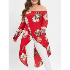 Photo Gallery - Plus Size Off Shoulder High Low Floral Maxi Blouse Plus Size Jumpers, Plus Size Blouses, Red Blouses, Blouses For Women, Rare Clothing, Elegant Clothing, Plus Size Kleidung, Couture Tops, Fashion Seasons
