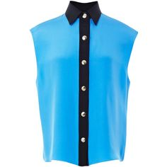 Fausto Puglisi Sleeveless Cady Blouse ($835) ❤ liked on Polyvore featuring tops, blouses, shirts, blusas, blue sleeveless top, shirts & blouses, blue sleeveless blouse, blue silk blouse and blue silk shirt