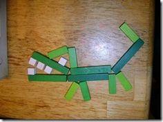 bouwkaart krokodil met blokken