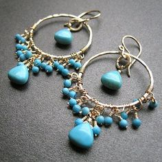 Beautiful circle turquoise with dangly stones