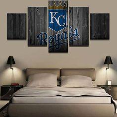 Kansas City Royals MLB Baseball 5 Panel Canvas Wall Art Home Decor