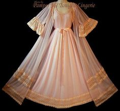GORGEOUS Vtg Intime Lingerie Pink Chiffon Dress Nightgown Peignoir Robe Set M L   eBay!