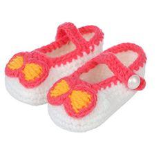 Bigood(TM) 1 Paar Strickschuh One Size Strick Schuh Baby Unisex süße Muster 11cm Schleife Pink Weiss - http://on-line-kaufen.de/bigood/pink-weiss-bigood-tm-1-paar-strickschuh-one-size-2