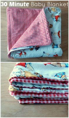 30 minute baby blanket tutorial Great project for beginners. Only 2 fabrics needed!