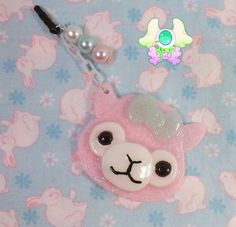 Kawaii Pink Alpaca Dust Plug  Phone Strap  by SammysJewels on Etsy