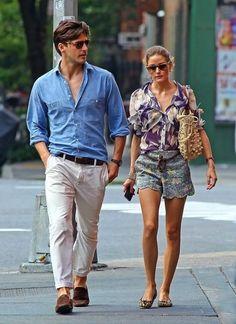 Style Olivia Palermo, Olivia Palermo Lookbook, Johannes Huebl, Outfit Elegantes, Stylish Couple, Fashion Couple, Denim Shirt, Style Me, Couple Style