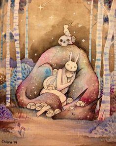 By Chiara Bautista Bunny girl and star wolf Art And Illustration, Chiara Bautista, Animation, Art Design, Oeuvre D'art, Amazing Art, Illustrators, Fantasy Art, Cool Art