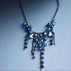 Bejeweled statement necklace in blue stones NEW. Will be great for a fun night out! Jewelry Necklaces