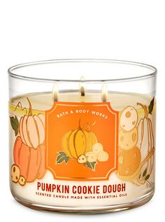 Pumpkin Cookie Dough 3-Wick Candle | Bath & Body Works Bath Candles, Oil Candles, 3 Wick Candles, Scented Candles, Bath N Body Works, Bath And Body, Homemade Cookie Dough, Halloween Candles, Fall Scents