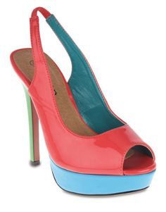 Odeon Multi-Colour Slingback Platform Heels.