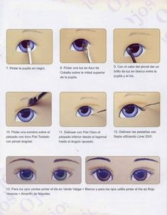 How to paint eyes on polymer clay Eye Painting, Doll Painting, Doll Crafts, Diy Doll, Doll Face Paint, Eye Parts, Doll Tutorial, Eye Tutorial, Doll Eyes
