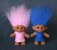 Troll dolls where a must.  These guys are wearing clothes like I use to make for mine