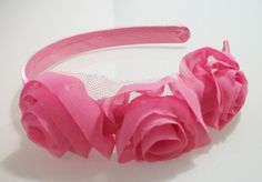 Hot Pink 3 Flower Alice Band  Ideal For by Alwaysabridesmade, $16.50