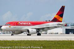 Avianca Airbus A318 at KMIA, Miami International Airport.