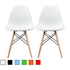 2xhome - Set of Two (2) White - Eames Style Side Chair Natural Wood Legs Eiffel Dining Room Chair - Lounge Chair No Arm Arms Armless Less Chairs Seats Wooden Wood Leg Wire Leg Dowel Leg Legged Base Chrome Metal Eifel Molded Plastic 2xhome http://www.amazon.com/dp/B00R3MWA6K/ref=cm_sw_r_pi_dp_FY22wb10JV5D8