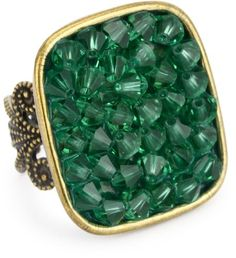 "$55.00 Liz Palacios ""Arco Iris"" Emerald Swarovski Elements Square Adjustable Ring  From Liz Palacios   Get it here: http://astore.amazon.com/ffiilliipp-20/detail/B005AEQCR6/181-7744024-3642044"