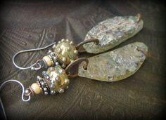 Ancient Roman Glass, Lampwork Glass, Green, Autumn, Urban,  Primitive, Glass, Organic, Rustic, Earthy, Hoop Beaded Earrings by YuccaBloom on Etsy