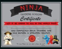 INSTANT DL- Ninjago Training Certificate - Ninjago Birthday Party -Printable (not personalized)