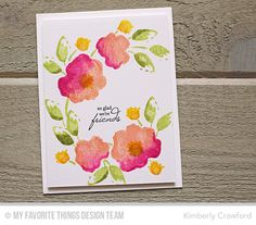 For the Love of Paper: stamping multiple color watercolor flowers; a video tutorial