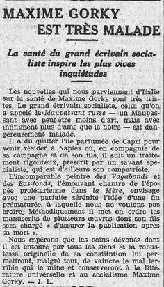 """A la une de L'Humanité du 8 octobre 1913, la maladie du """"Maupassant russe""""..."""