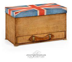 Union Jack rectangular box painted #hpmkt #jcfurniture #jonathancharles #Furniture #InteriorDesign #decorex #unionjack