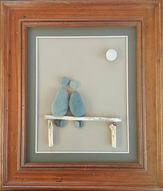 """Just the two of us... by Sarah Hillman 11' x 14"""" framed beach pebble art created using pebbles collected from the shores of Lake Michigan"""