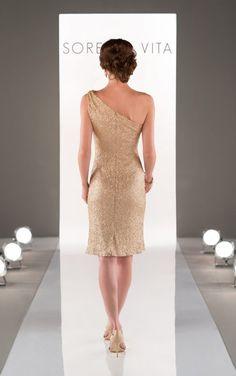 8725 Short One-Shoulder Sequin Bridesmaid Dress by Sorella Vita