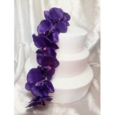 Purple Wedding Cake Design Artificial Orchids Flowers Topper (purple)