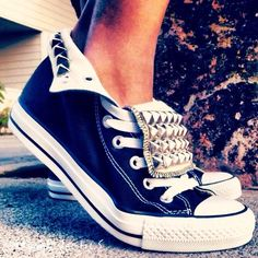outfits with converse shoes | Studded Converse Sneaker - Athletic Shoes - Black: