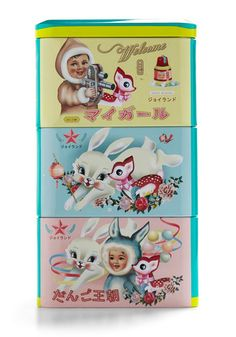 I love these kitschy tins. Fiona Hewitt is genius.