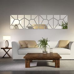 "This Mirrored Stone Wall Decoration kit is made up of 28 pieces that comprise 2 contrasting ""square"" patterns (A & B pattern) equalling 4 ""squares"" total and a template to help install them. Each of t"