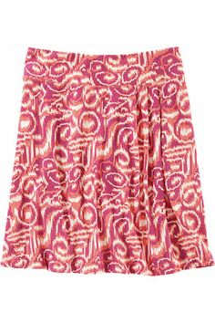 """Title Nine: Breeze Skirt - Print - Lighter than a summer breeze, a breeze to wear, a breeze to care for. Drapes without clinging, wicks without worry and dries in a jiffy. Made of our Breeze™ fabric, a heathered, wrinkle-fighting blend of poly/rayon/spandex. Pull-on styling with pleat detail on front hip. 19½"""" long. Only @ T9.XS(2), S(4-6), M(8-10), L(12-14), XL(16)"""