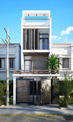 One concept for a street house in Viet NamThanks every body - Today Pin Flat House Design, Narrow House Designs, Minimalist House Design, Modern House Design, Terraced House, Gate House, Facade House, Modern Exterior, Exterior Design