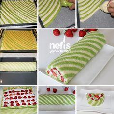Çilekli Rulo Şerit Pasta 2