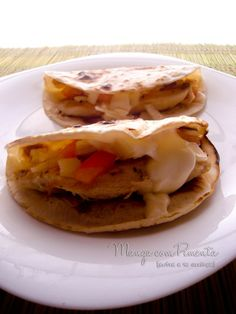 Taco de Frango, Requeijão, Tomate e Cebola, para ver a receita clique na imagem para ir ao Manga com Pimenta.