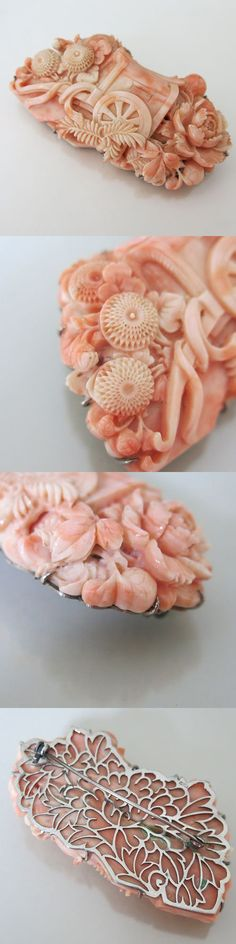 """Japanese White Gold Carved Coral Brooch. The Coral was carved during the Meiji period for an obidome and the backing of the brooch was added during the 1940's - 50's. The carving is very 2-dimensional with a lot of depth to it and measures just under 1/2"""" thick at its thickest point. Length 2 5/8"""", Width 1 3/8"""", Mark """"S.P.M."""", Weight 46 grams"""