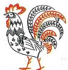 Vogart 646 Roosters for Tea Towels. A 1950s Hand Embroidery Pattern.
