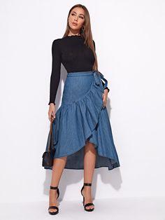 Denim Top, Denim Skirt, Midi Skirt, Skirt Outfits, Cute Outfits, Blazer Jackets For Women, Summer Shirts, Skirt Fashion, Types Of Sleeves