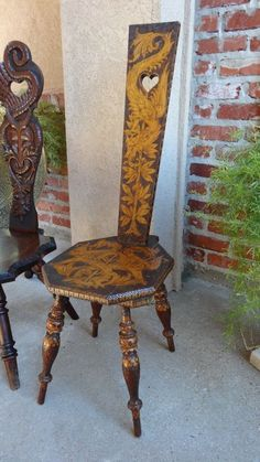 Antique English Hand Carved Spinning Wheel Chair Stool w Pyrography Dragons | eBay