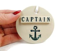 Captain Ornament, Boating Gift, Anchor Ornament, Captain Gift,  Nautical Ornament, Anchor Decor, Seaman Gift, Sailor Gift,Christmas Ornament