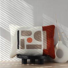 · Modern wall hangings · Woven & punchneedle pillows · by WINDSTOREtextiles Beige Pillows, Throw Pillows, Accent Pillows, Punch Needle, Cute Crafts, Rug Hooking, Color Blocking, Weaving, Cushions