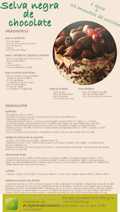 Receta Tarta Selva Negra de Chocolate. Baking Recipes, Cake Recipes, Dessert Recipes, Just Desserts, Delicious Desserts, Vegan Desserts, Pastel Cupcakes, Forest Cake, Sweet Cakes