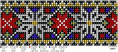 Perlesøm på stramei, bunad. – Vevstua Bull-Sveen Macrame Patterns, Beading Patterns, Cross Stitch Borders, Cross Stitch Patterns, Cross Stitch Embroidery, Pixel Art, Norway, Jewelry Making, Wire Jewelry