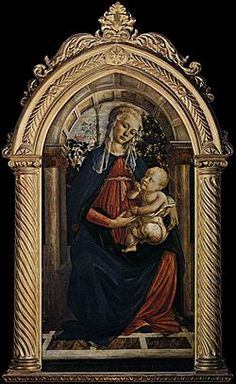 Madonna of the Rose Garden - Sandro Botticelli.  1469-70.  Tempera on panel.  124 x 64 cm.  Galleria degli Uffizi, Florence, Italy.